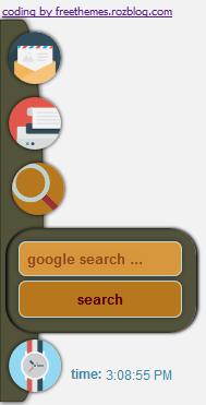 منوي همراه چپ یا راست صفحه - دارای تماس با ما ، جستجو ، ساعت و پرینت
